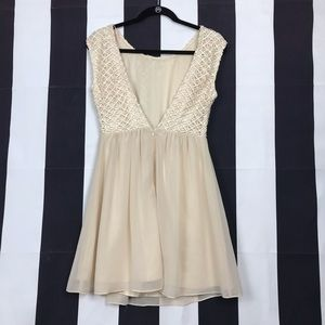 Open Back Nude Champagne Dress